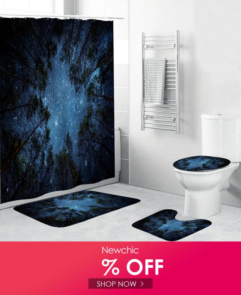 4 Pcs Set Shower Curtain Waterproof Bathroom Bath Mat Rug Toilet Lid Cover Home In 2020 Bathroom Bath Mats Bath Mat Rug Mat Rugs