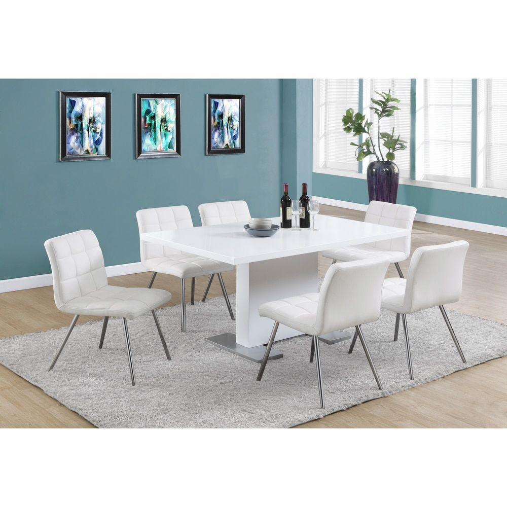 Dining Room Sets Leather Chairs Delectable White Faux Leather Chrome Metal Dining Chair Set Of 2  New Inspiration