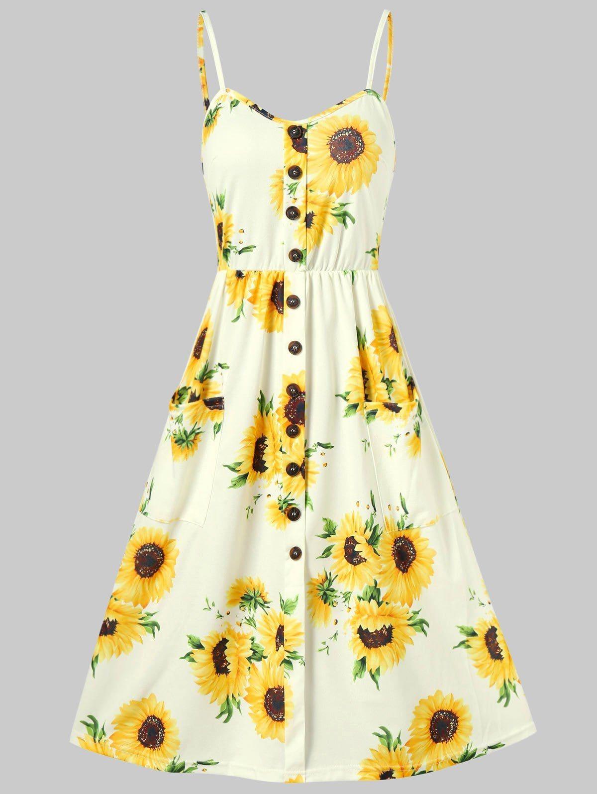 Sunflower Print Button Up A Line Cami Dress Cami Dress Printed Mini Dress Fashion [ 1596 x 1200 Pixel ]