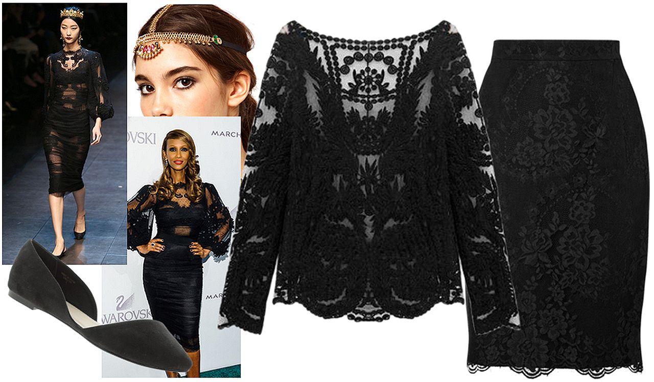 Iman's Dolce & Gabbana romantic Italian lace look