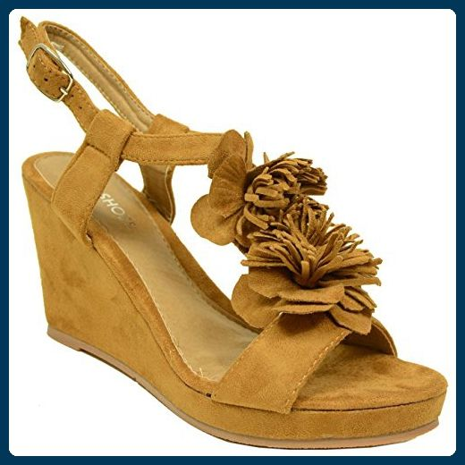 Cucu Fashion Damen Knöchel-Riemchen, Braun - Camel - Größe: 40
