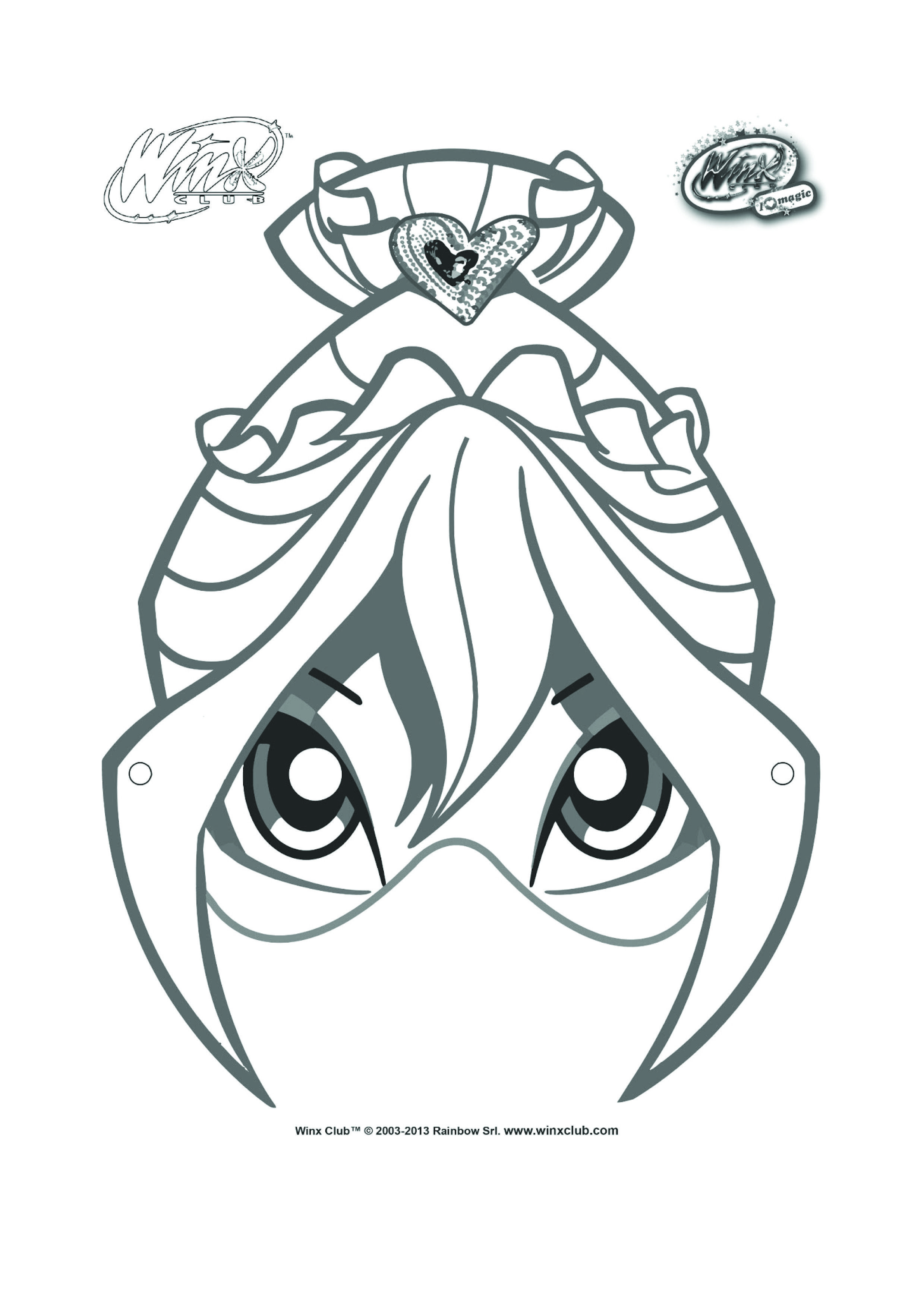 Bloom Mask To Color And Decorate For Winx Club Birthday
