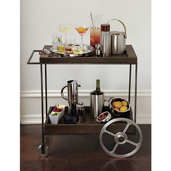 Bar Cart With 2 Wooden Trays That Remove To P Out Drinks And Etizers Porter
