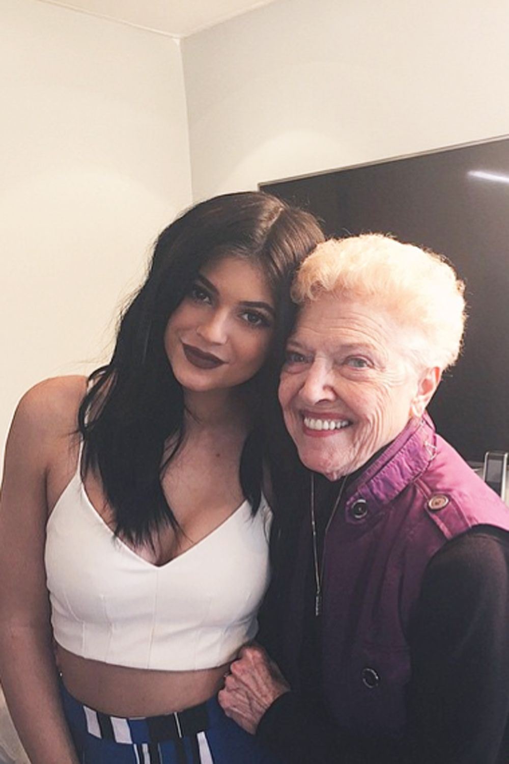 Aw. Kylie Jenner shows where she gets her look from whilst posing for a photo with her grandma (Bruce Jenner's mum)...