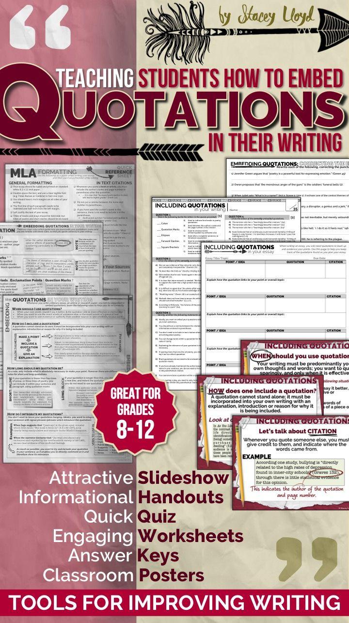 EMBEDDING QUOTATIONS: Tools for Teaching Writing   Teaching writing [ 1285 x 720 Pixel ]