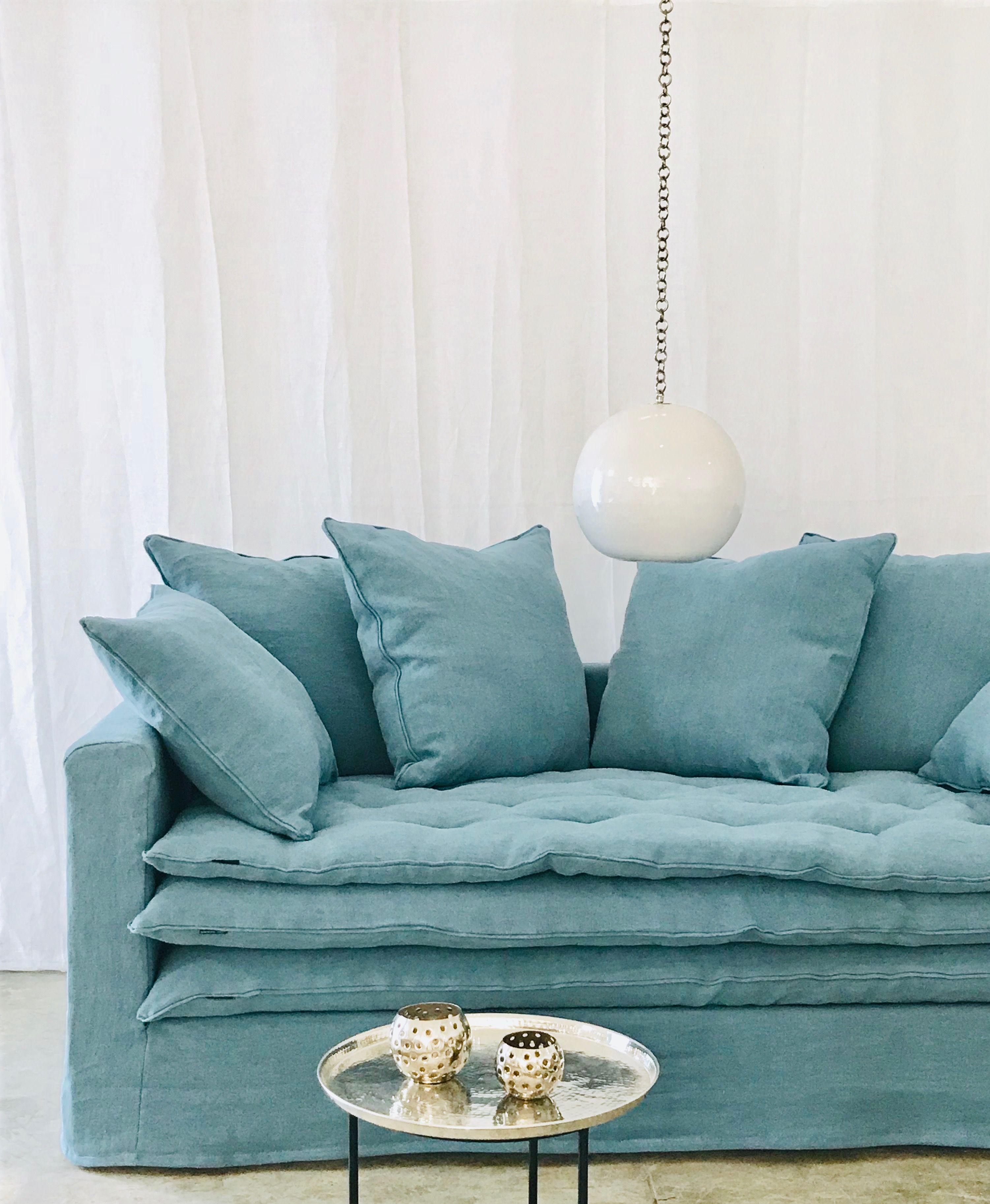 Canape Sur Mesure Boheme Lin Lave Bleu Ciel Mobilier De Salon Meuble De Style Decoration Maison