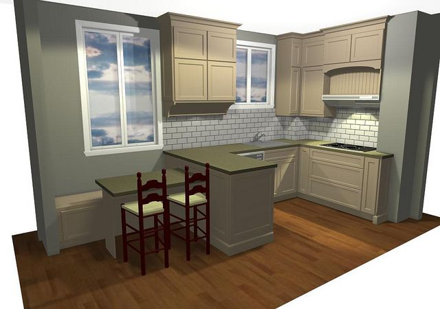 Kitchen perspective A, by Inhabit Home Design.