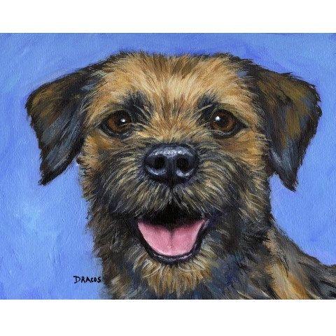 Border Terrier Dog Art 8x10 Print Of Original By Dottiedracos 12 00 Dog Print Art Dog Art Border Terrier