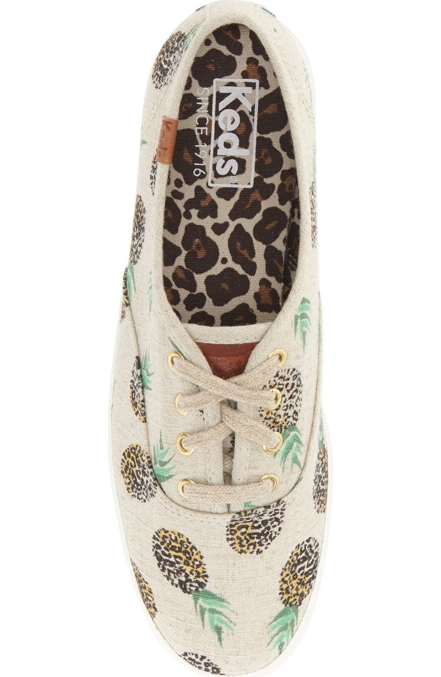 bf16be9adcbb Tropical fruit and playful animal patterns extend the carefree charm of  this crisp canvas sneaker in a classic low-top silhouette.