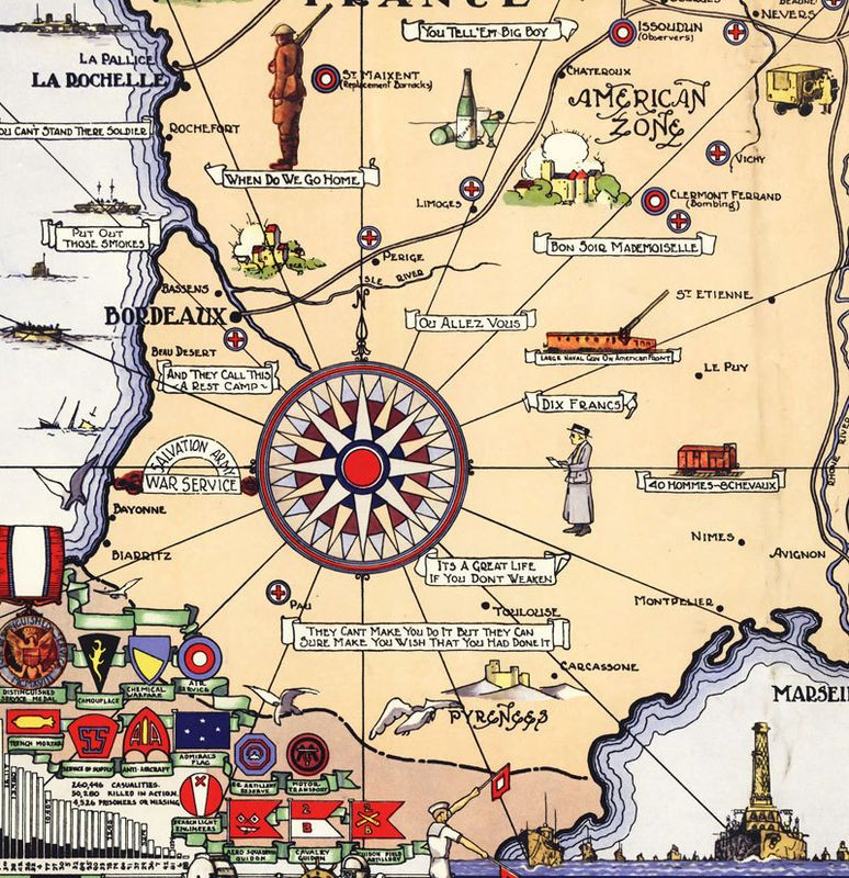 Old Map Of France.Old Map Of France Historical Map American Expeditionary Force