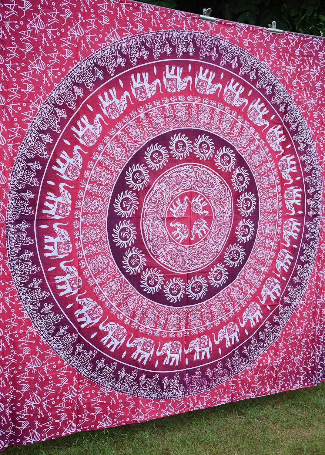 Apoorvau0027s Pink Ombre Mandala Tapestry Hippy Throw