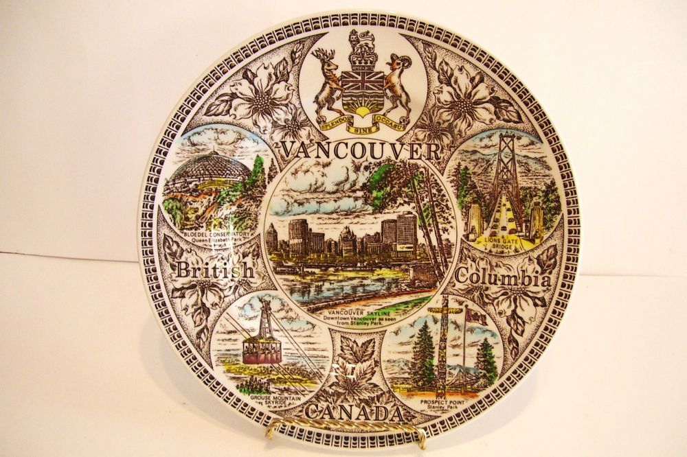 Vintage Vancouver Canada Collector Wall Plate Wood and