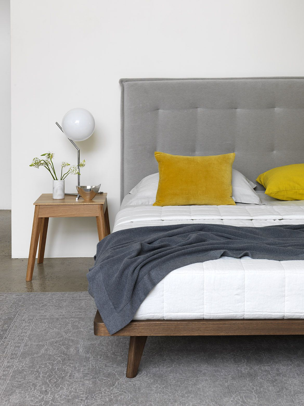 Lacquered made in spain wood modern platform bed with tiles milwaukee - The Arthur G Austin Bed And Carson Side Table Upholstered Bedhead Grey Velvet
