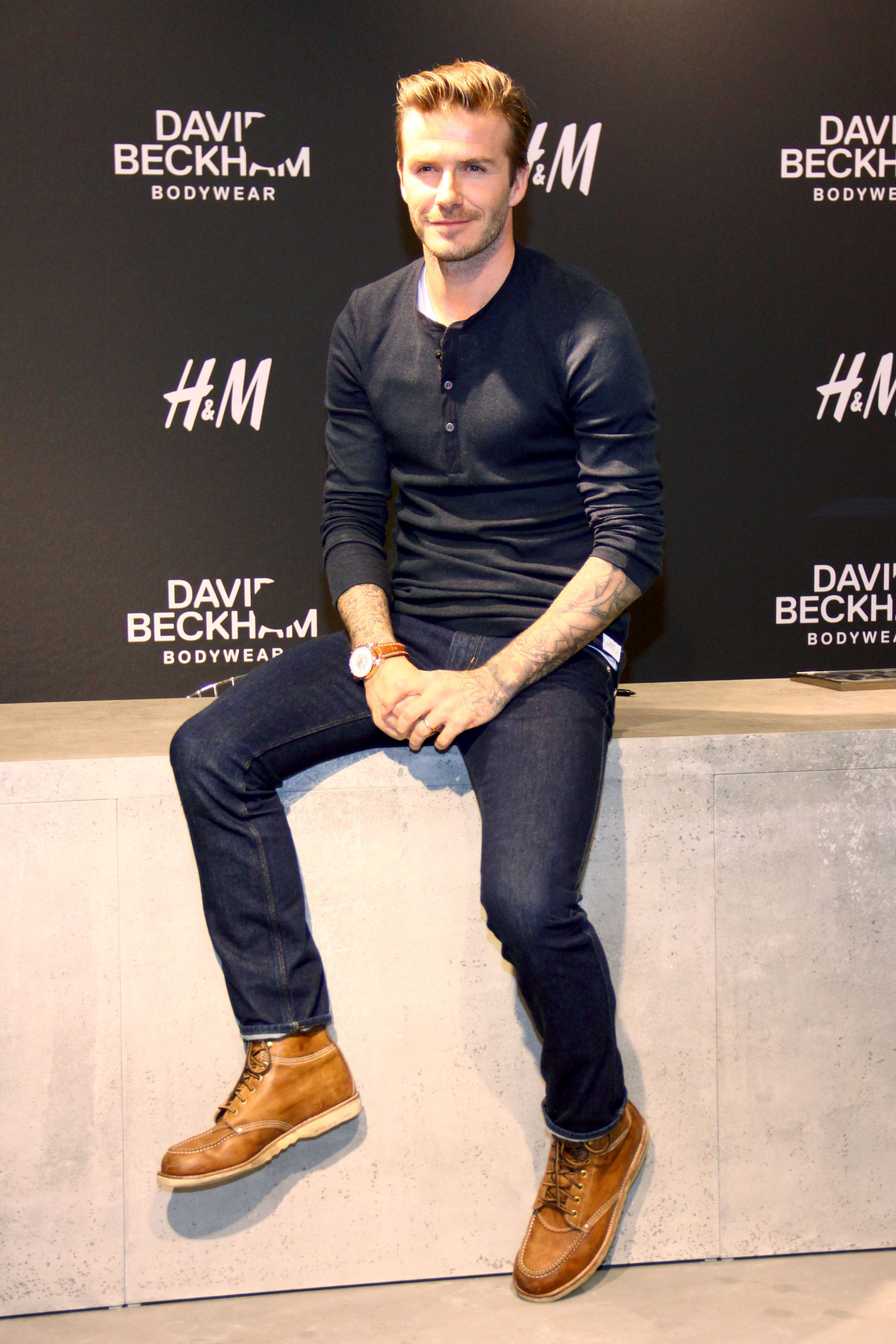 David Beckham is the model author at the signing of his