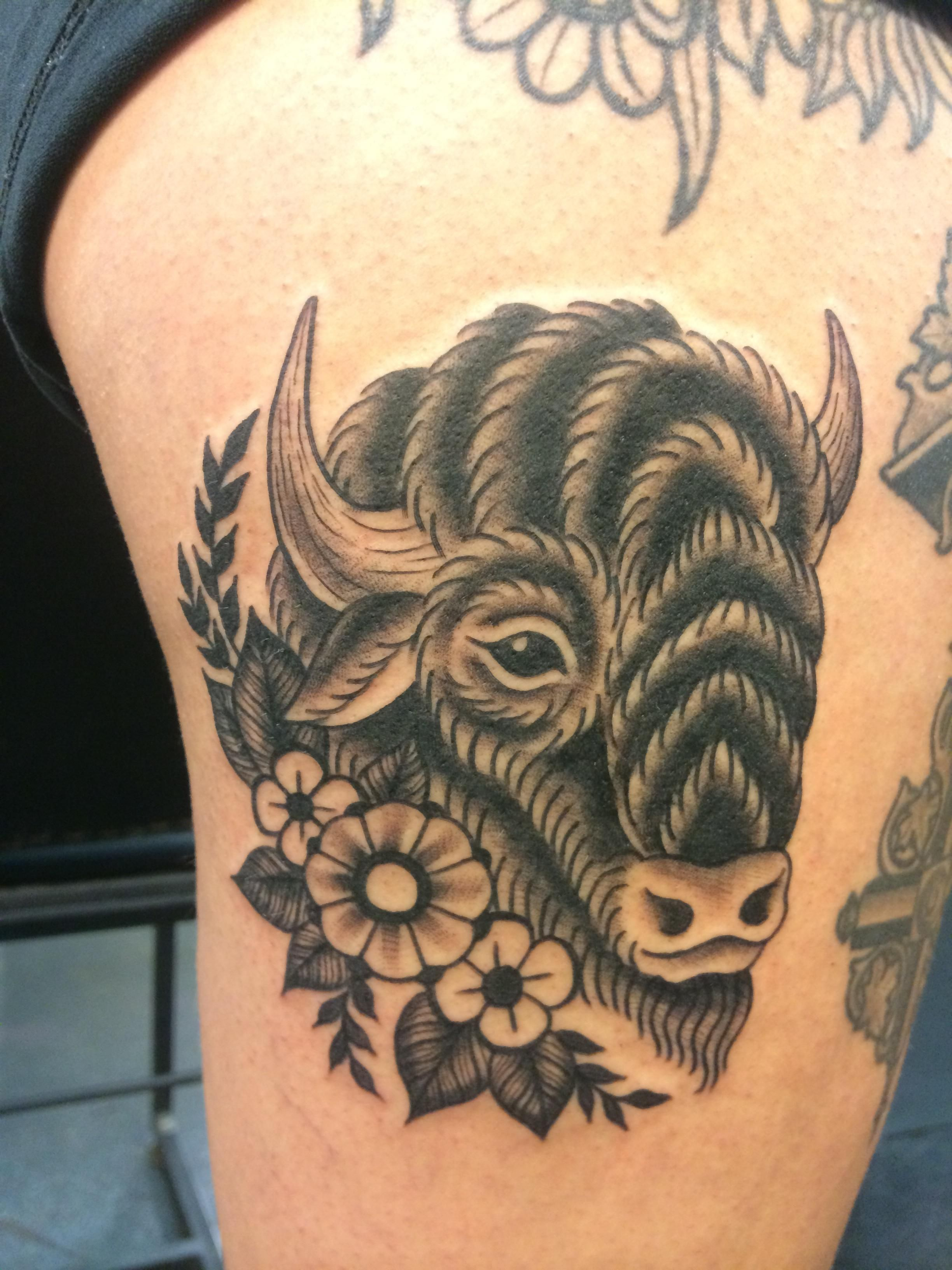 Buffalo by laura graham at lady luck tattoo portland or