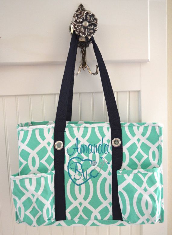Mint Utility Tote Nurse S Diaper Bag Monogrammmed On Etsy 30 00