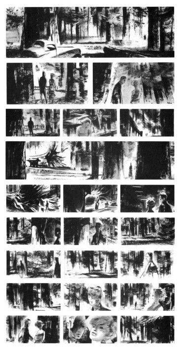 Storyboards And Production Sketches For Alfred Hitchcock Movies