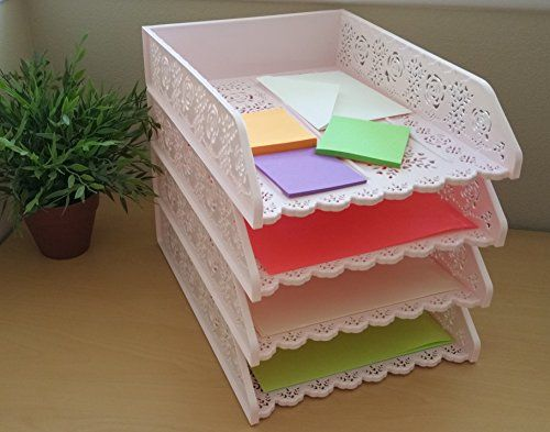 desk office file document paper. 4 Pack Stackable Letter Tray Desk Office File Document Paper Holder Organizer Pink * Learn More By Visiting The Image Link.