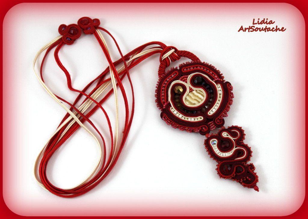 $63 Pendant soutache red ang cream  https://www.etsy.com/es/shop/LidiaArtSoutache?ref=listing-shop-header-item-count