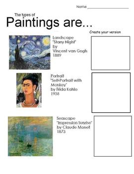 art is paintings 3 pages includes teachers guide teacher paintings and worksheets. Black Bedroom Furniture Sets. Home Design Ideas