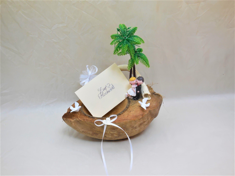 Hochzeits-Kokosnuss, Hochzeitskarte, Hochzeitsgeschenk, Hochzeitsgeldgeschenk, Hochzeitsgutschein, Flitterwochen, Flitterwochengeschenk