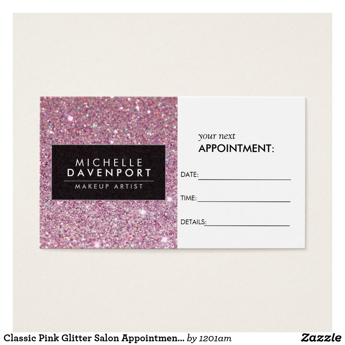 Classic Pink Glitter Salon Appointment Card Coordinates with the ...