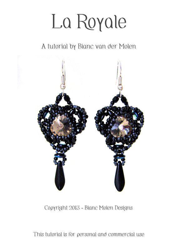La Royale, bead weave pattern for earrings with swarovski