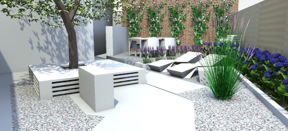 Tuinontwerp kleine tuin modern google zoeken badkamer for Moderne kleine tuin