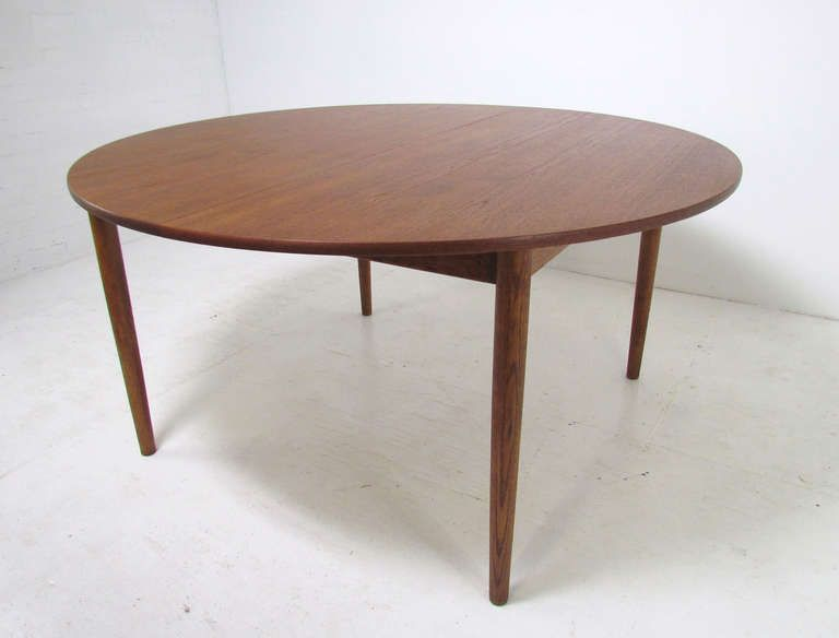 Superior Danish Teak Large Round Expandable Dining Table By Ib Kofod Larsen For  Christensen U0026 Larsen