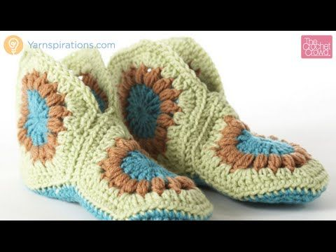 Learn how to make Hexagon Granny Slippers. It uses only 3 motifs sewn strategically together and then a sole is added to form the slipper. Get the free patte...