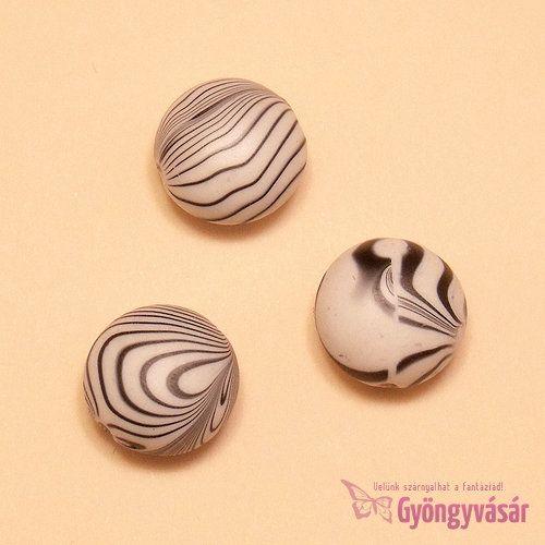Zebra mintás lencse - akril gyöngy (3 db)