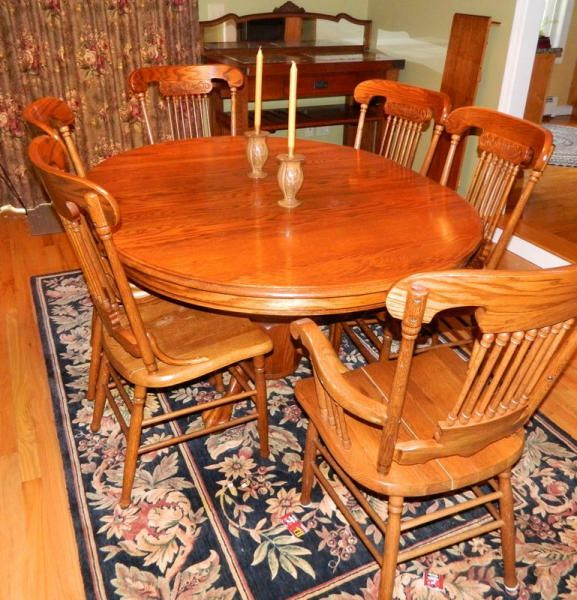 Contents Of Dining Room Including Modern Round Oak Pedestal Dining Table With Paw Feet And Includes 2 12 Locking Lea Dining Table Table Pedestal Dining Table