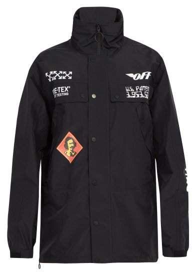 White Goretex Off Logo Black Mens Jacket Print 6wwZdCq