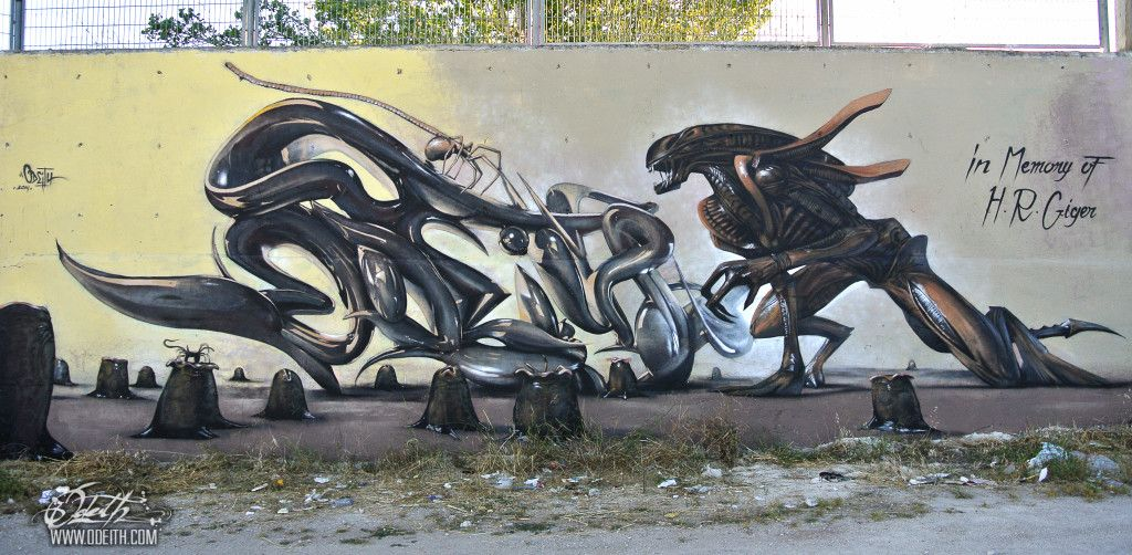 Hr Giger Tribute Graffiti Mural Agressive Alien And Chrome Tube - Incredible forced perspective graffiti artist odeith