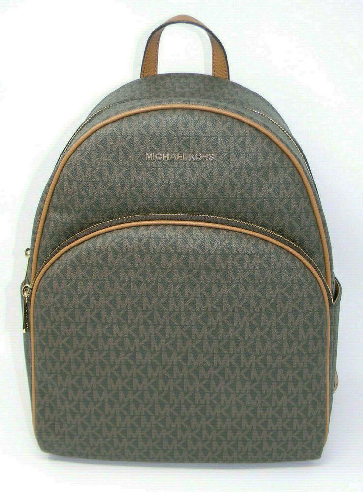 b5d6fa2ab477 New Michael Kors Abbey Brown MK Signature Logo Gold Zip Large Backpack  398