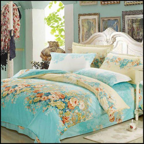 100 Cotton Quilt Doona Duvet Cover SET Vintage Baby Blue Floral Flower Print | eBay