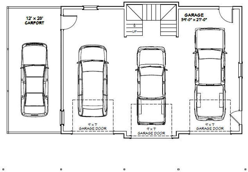 40x30 3car garage 2065 sq ft pdf floor plan instant
