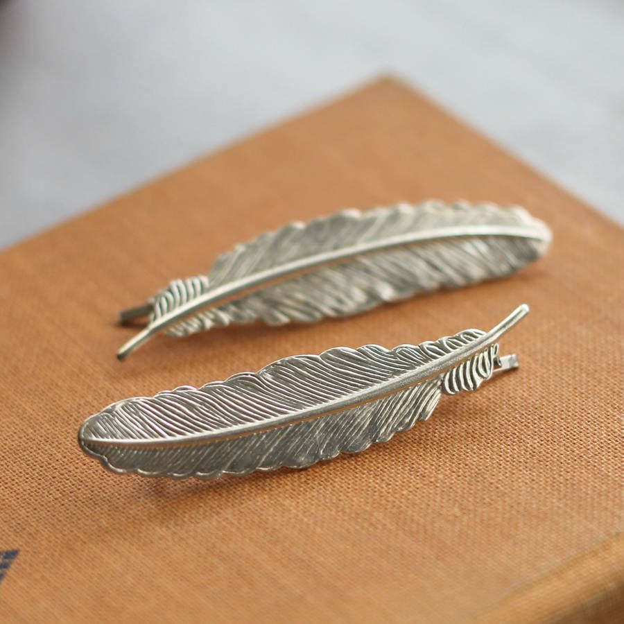 Silver Feather Hair Grips Hair Pieces Feathered Hairstyles Hair Accessories