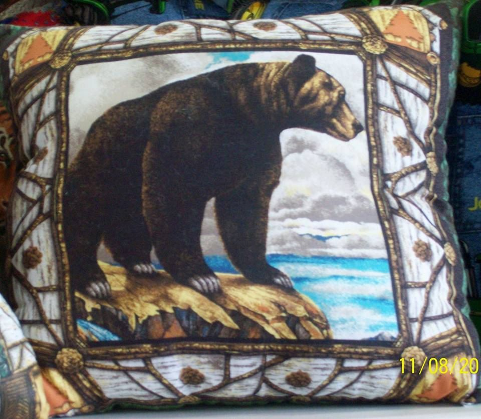 PILLOW! Grizzly Bear! Beautiful! by SewCraftCrazy4U on