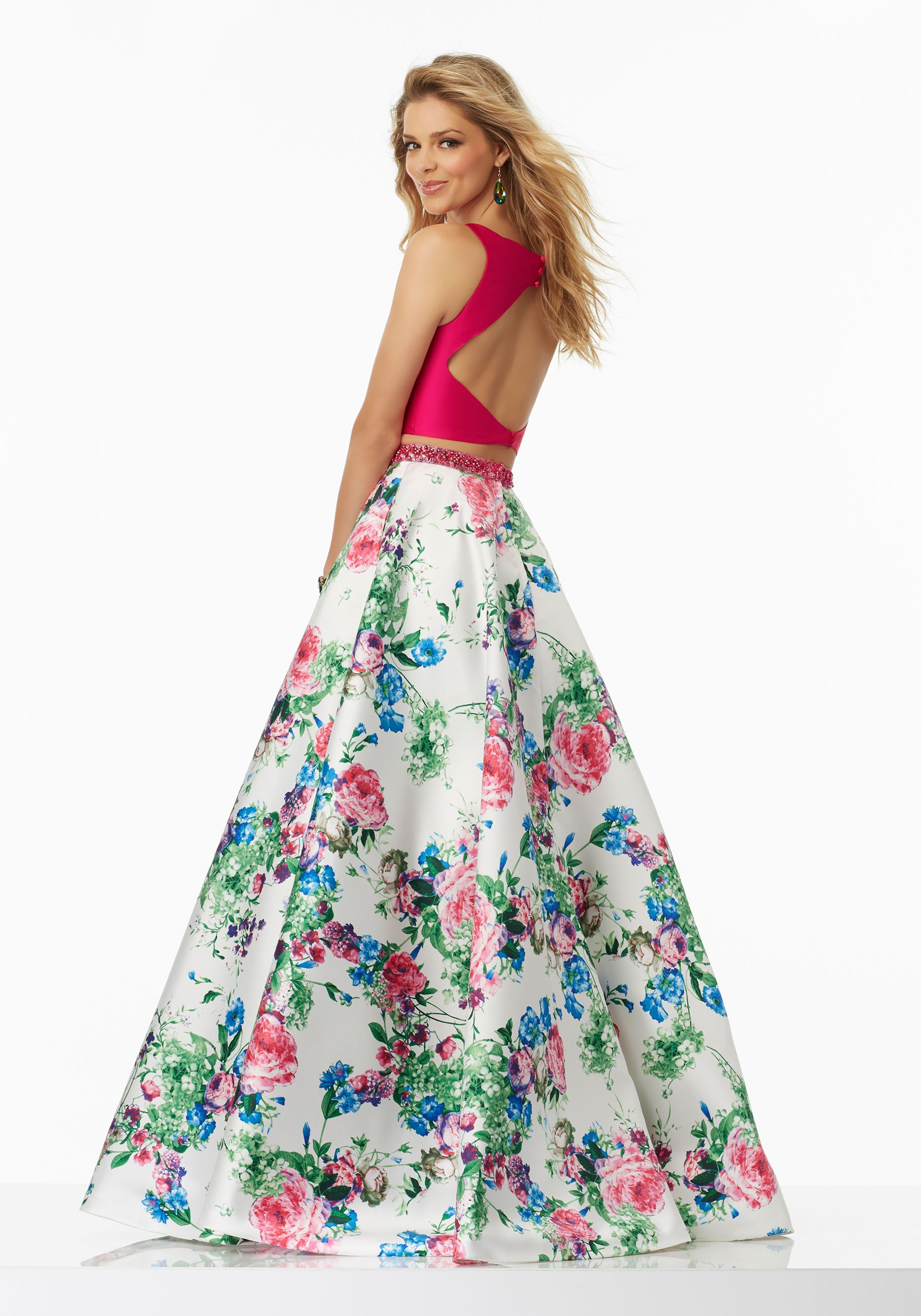 6b2e6499a Prom Dresses by Morilee designed by Madeline Gardner. Stunning two-piece  Floral Printed Larissa Satin Prom Dress