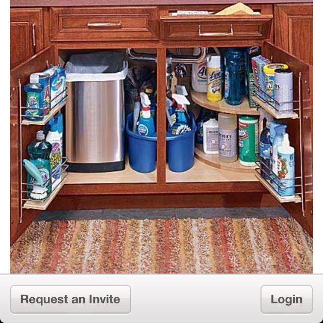 Kitchen Cabinet Organization Ideas: Organizing Under The Kitchen Sink In A Small Space.-Trash