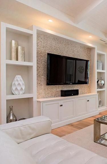 Unique Wall Unit For Drawing Room Homedecoration: Tile, TV, Cabinets Below, The Basics, Simple And Clean