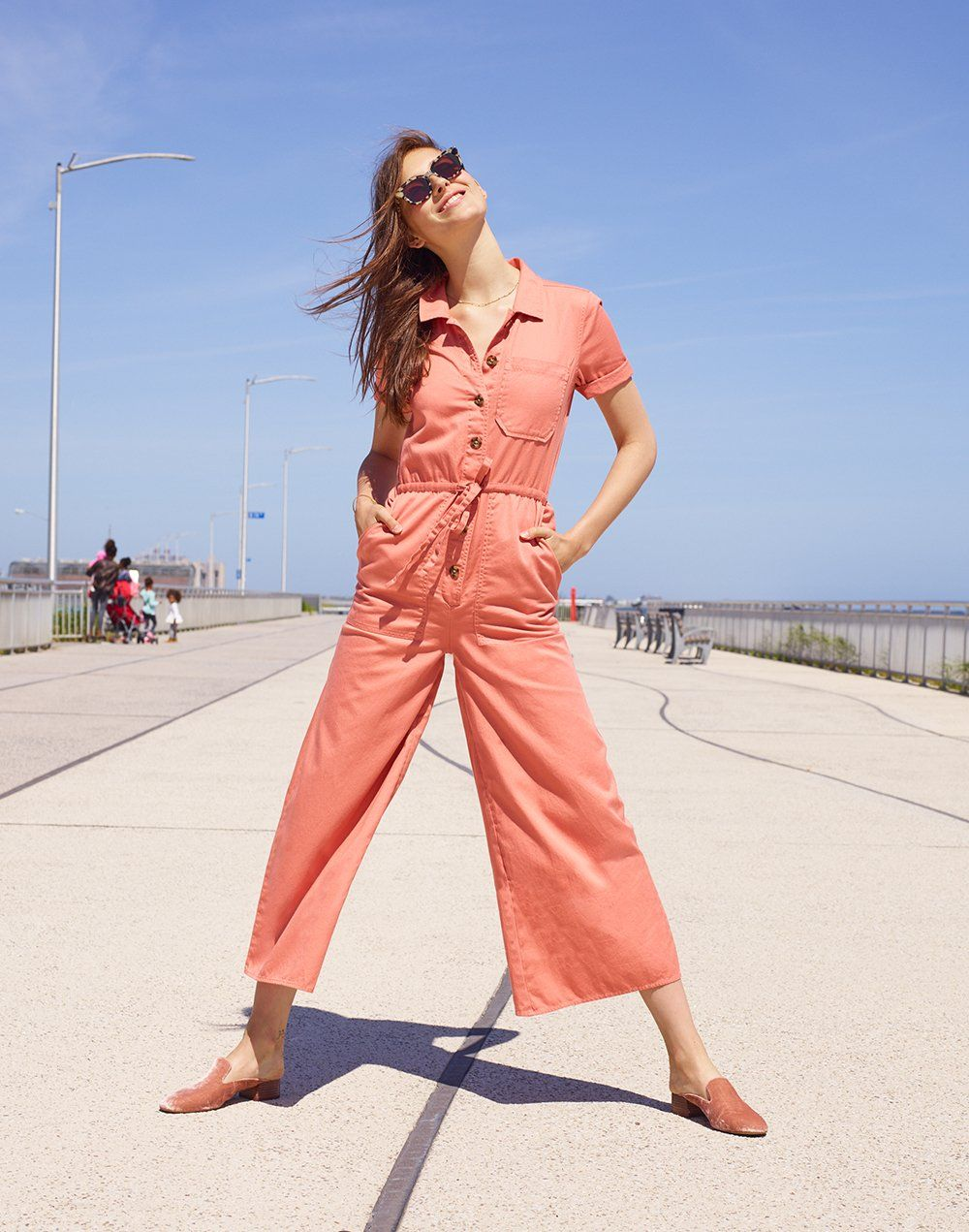 eaba72aa72f8 madewell wide-leg utility jumpsuit worn with venice flat-frame sunglasses +  the willa loafer mule.