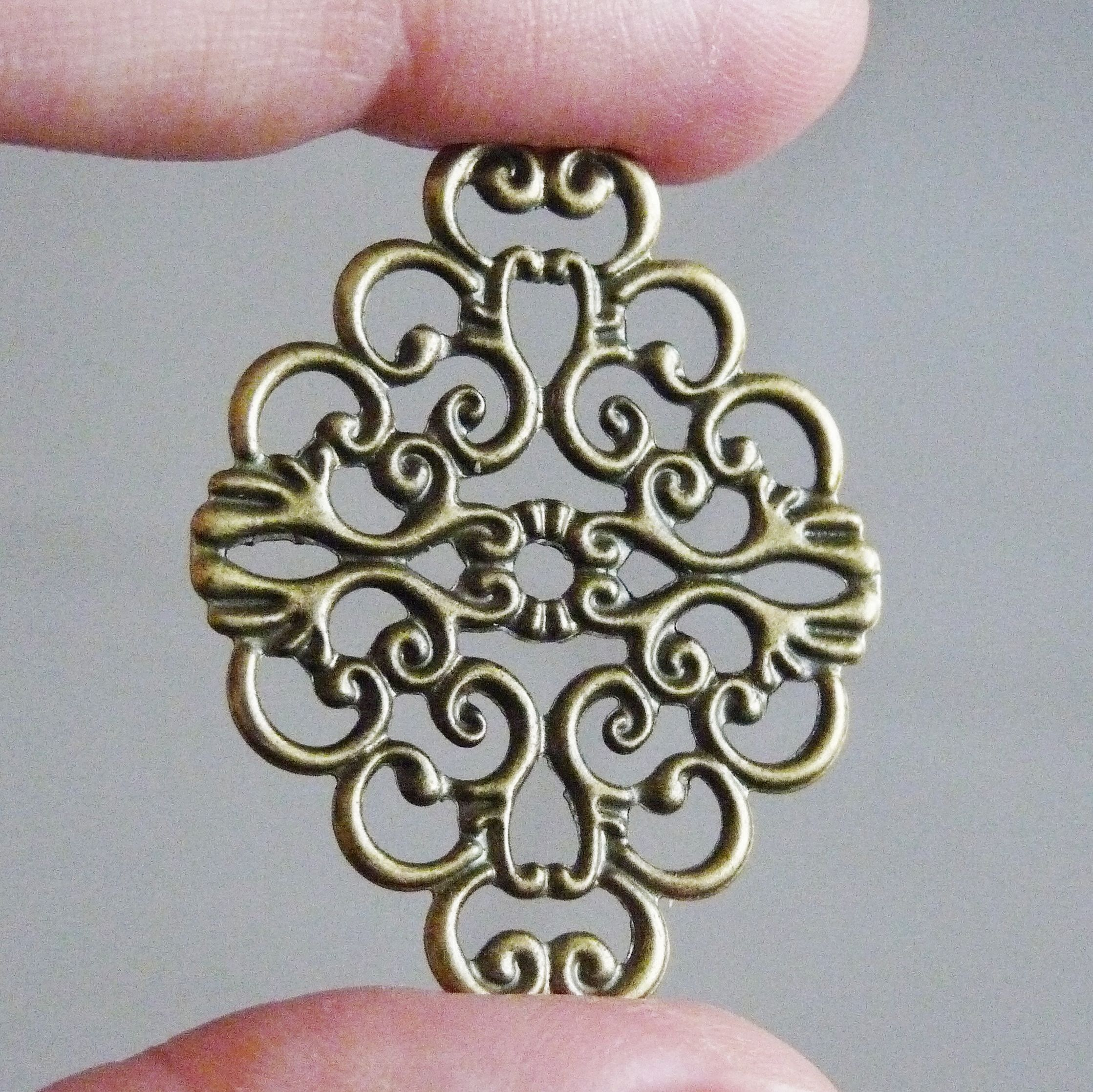 36 mm Antique Brass Round Hollow Filigree Charms Pendant DIY Jewelry 10 Pcs