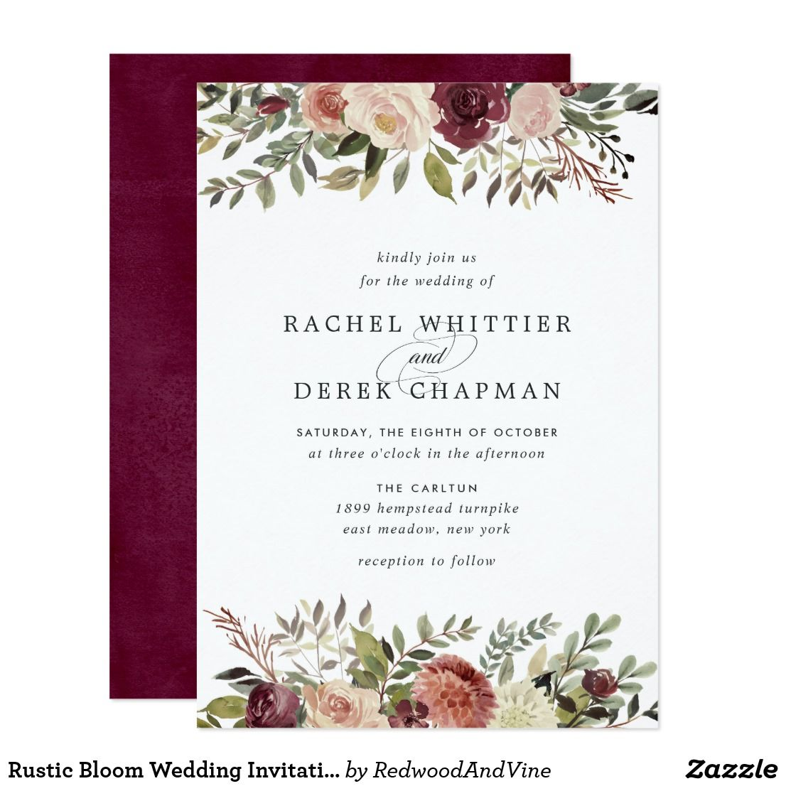 Rustic Bloom Wedding Invitation Elegant Floral Invitations Or Fall Winter Weddings Feature Your Details Accented By Top And Bottom Borders Of: Rustic Wedding Invitations Fall Colors At Reisefeber.org
