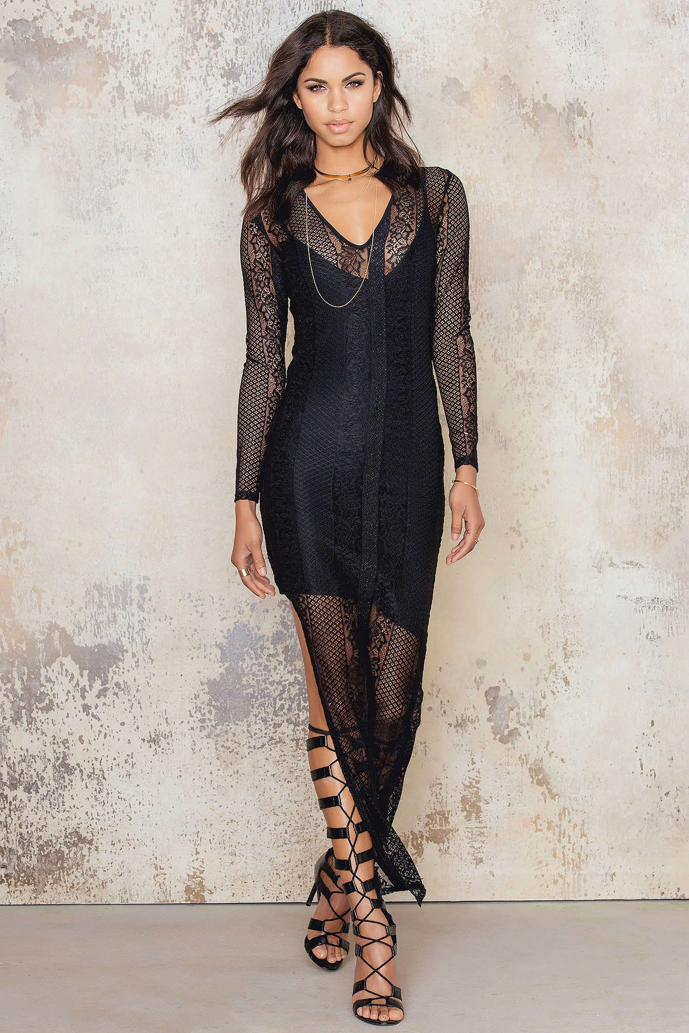 V neck black lace dress  Turn heads in this design by NAKD The Vneck Lace Dress is made in