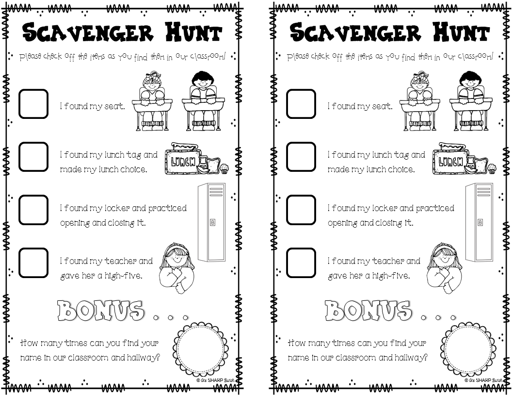 FREE Open House scavenger hunt. Your kiddos will have so
