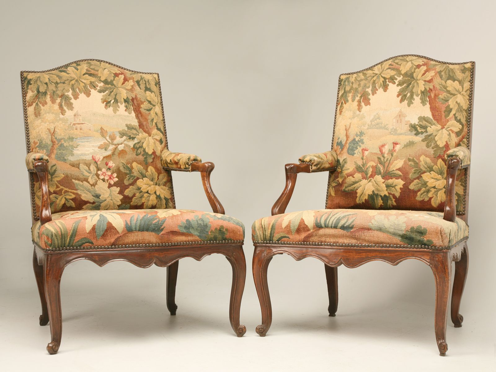 pair antique armchairs with aubusson tapestry aubusson pinterest
