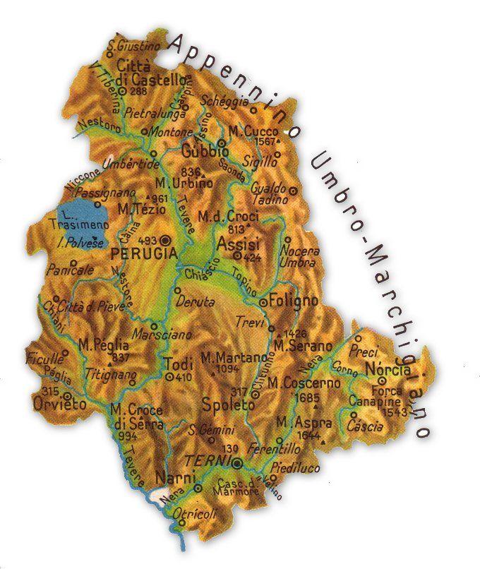 Umbria Cartina Geografica Fisica.Cartina Geografica Umbria Geografia Umbria Sigilli