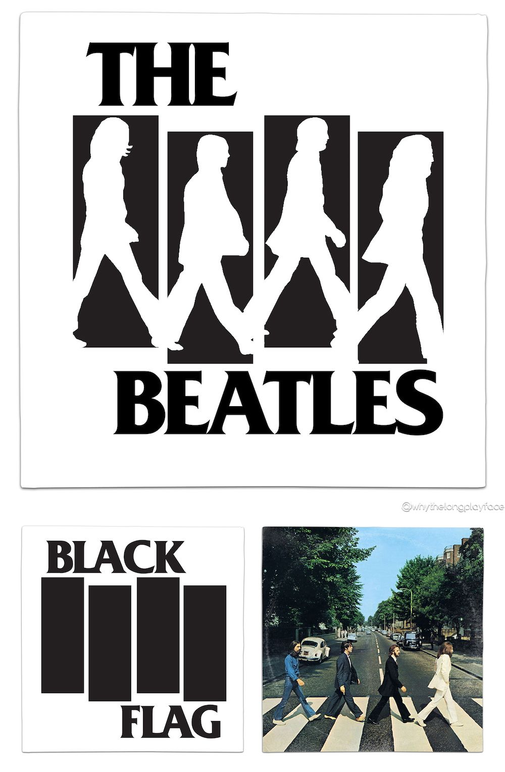 Black flag logo the beatles abbey road mash up vinyl record art print alternative
